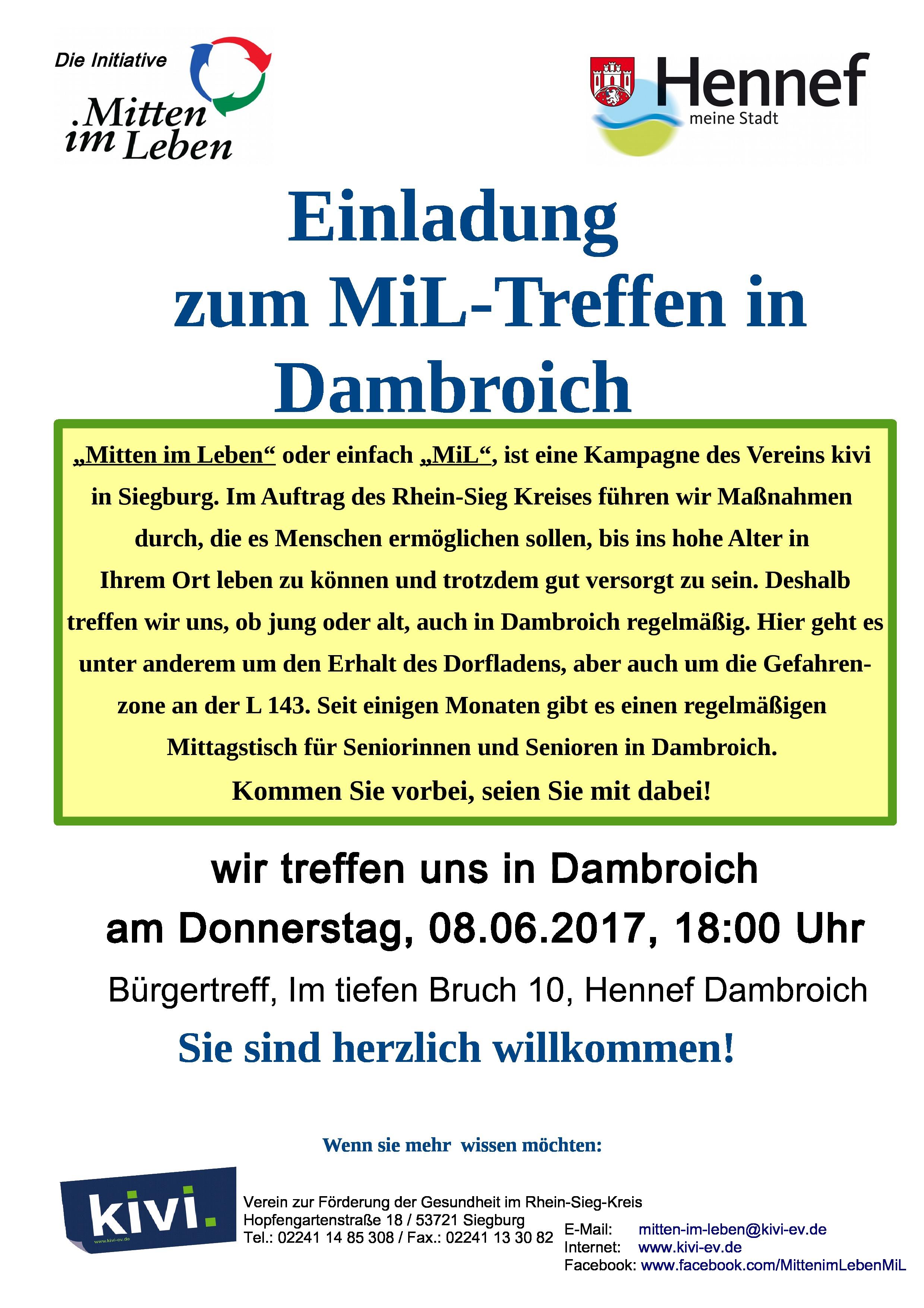 """mitten im leben"""" – treffen – bürgerverein dambroich e.v., Einladung"""